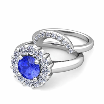 Ceylon Sapphire and Halo Diamond Engagement Ring Bridal Set in Platinum, 7mm