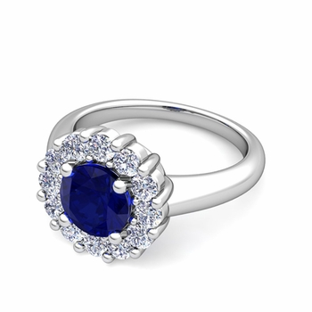 Blue Sapphire and Halo Diamond Engagement Ring in Platinum, 7mm