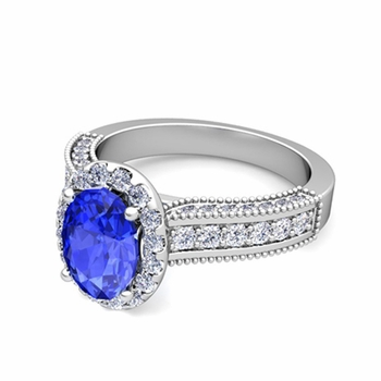 Heirloom Diamond and Ceylon Sapphire Engagement Ring in 14k Gold, 9x7mm