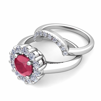 Ruby and Halo Diamond Engagement Ring Bridal Set in Platinum, 6mm