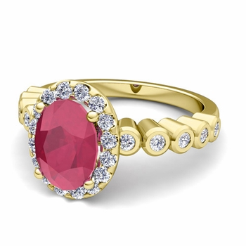Bezel Set Diamond and Ruby Halo Engagement Ring in 18k Gold, 7x5mm