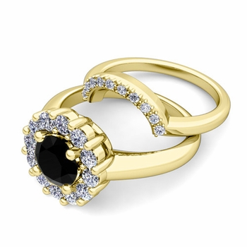 Black and White Diamond Halo Engagement Ring Bridal Set in 18k Gold, 7mm