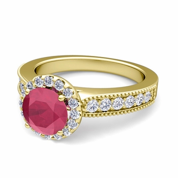 Milgrain Diamond and Ruby Halo Engagement Ring in 18k Gold, 6mm