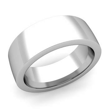 Flat Comfort Fit Wedding Band in 14k White or Yellow Gold, Polished Finish, 8mm