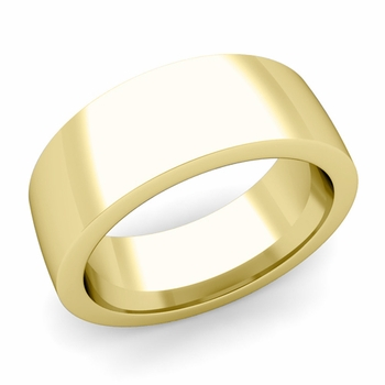 Flat Comfort Fit Wedding Band in 18k White or Yellow Gold, Polished Finish, 8mm