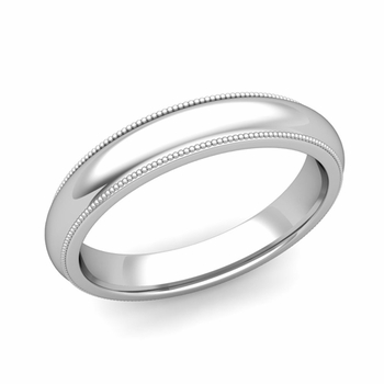 Comfort Fit Milgrain Wedding Band in 14k White or Yellow Gold, Polished Finish, 4mm