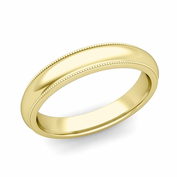 Comfort Fit Milgrain Wedding Band in 18k White or Yellow Gold, Polished Finish, 4mm