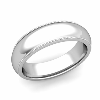 Comfort Fit Milgrain Wedding Band in 14k White or Yellow Gold, Polished Finish, 6mm