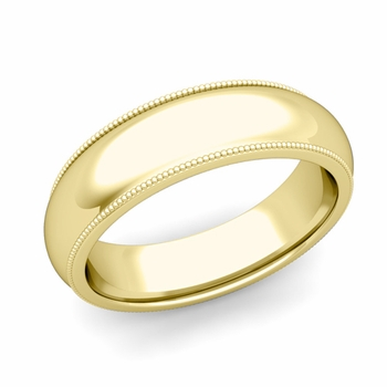 Comfort Fit Milgrain Wedding Band in 18k White or Yellow Gold, Polished Finish, 6mm
