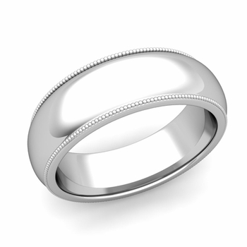 Comfort Fit Milgrain Wedding Band in Platinum, Polished Finish, 7mm