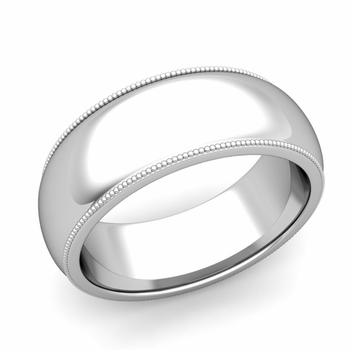 Comfort Fit Milgrain Wedding Band in Platinum, Polished Finish, 8mm