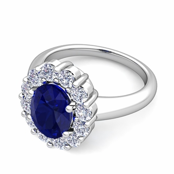 Halo Diamond and Blue Sapphire Diana Ring in Platinum, 7x5mm