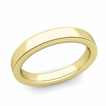 Milgrain Flat Wedding Ring in 18k Gold Comfort Fit Band, Polished Finish, 4mm