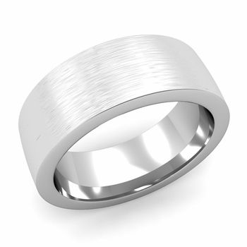 Flat Comfort Fit Wedding Band in 14k White or Yellow Gold, Brushed Finish, 8mm