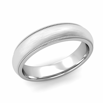 Comfort Fit Milgrain Wedding Band in 14k White or Yellow Gold, Brushed Finish, 5mm
