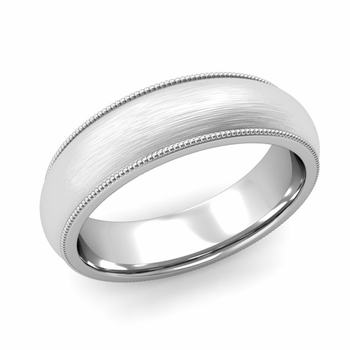 Comfort Fit Milgrain Wedding Band in 14k White or Yellow Gold, Brushed Finish, 6mm