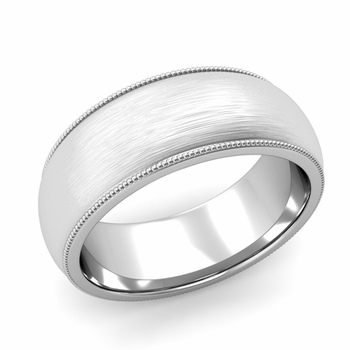 Comfort Fit Milgrain Wedding Band in 14k White or Yellow Gold, Brushed Finish, 8mm
