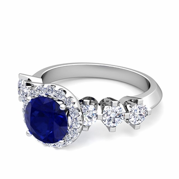Crown Set Diamond and Sapphire Engagement Ring in Platinum, 7mm