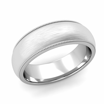 Comfort Fit Milgrain Wedding Band in Platinum, Brushed Finish, 7mm
