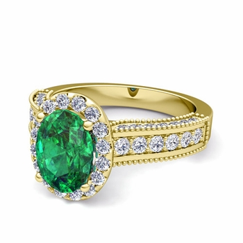 Heirloom Diamond and Emerald Engagement Ring in 18k Gold, 9x7mm