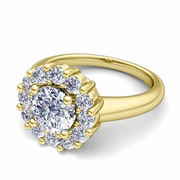 Classic Halo Diamond Engagement Ring in 18k Gold