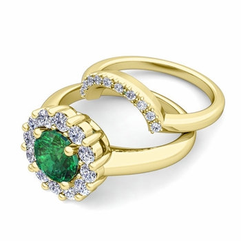 Emerald and Halo Diamond Engagement Ring Bridal Set in 18k Gold, 7mm