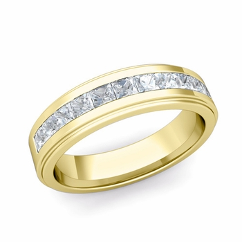Channel Set Princess Cut Diamond Mens Wedding Band in 18k Gold, 5.5mm