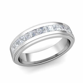 Channel Set Princess Cut Diamond Mens Wedding Band in Platinum, 5.5mm