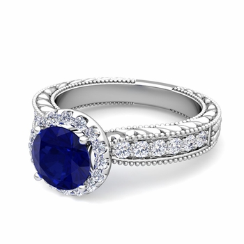 Vintage Inspired Diamond and Sapphire Engagement Ring in Platinum, 7mm