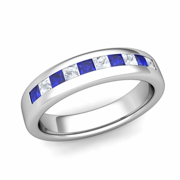 Channel Set Princess Cut Diamond and Sapphire Wedding Ring in Platinum, 4.5mm