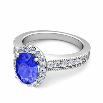 Milgrain Diamond and Ceylon Sapphire Halo Engagement Ring in Platinum, 7x5mm