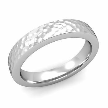 Flat Comfort Fit Wedding Band in 14k White or Yellow Gold, Hammered Finish, 4mm