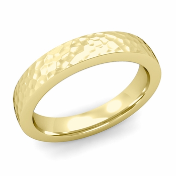 Flat Comfort Fit Wedding Band in 18k White or Yellow Gold, Hammered Finish, 4mm