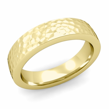 Flat Comfort Fit Wedding Band in 18k White or Yellow Gold, Hammered Finish, 5mm
