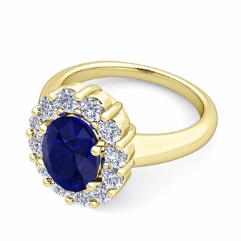 Halo Diamond and Blue Sapphire Diana Ring in 18k Gold, 7x5mm