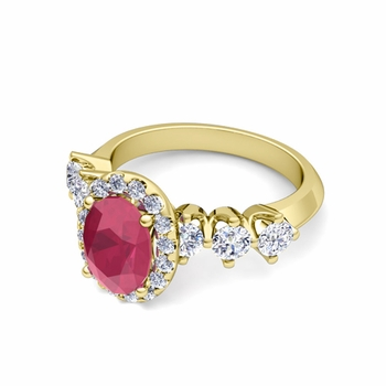 Crown Set Diamond and Ruby Engagement Ring in 18k Gold, 7x5mm