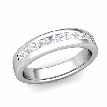 Channel Set Princess Cut Diamond Wedding Ring in 14k Gold, 4.5mm