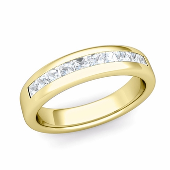 Channel Set Princess Cut Diamond Wedding Ring in 18k Gold, 4.5mm