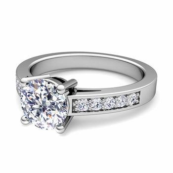 Pave Diamond and Solitaire Engagement Ring in Platinum
