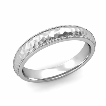 Comfort Fit Milgrain Wedding Band in 14k White or Yellow Gold, Hammered Finish, 4mm