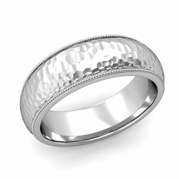 Comfort Fit Milgrain Wedding Band in 14k White or Yellow Gold, Hammered Finish, 7mm