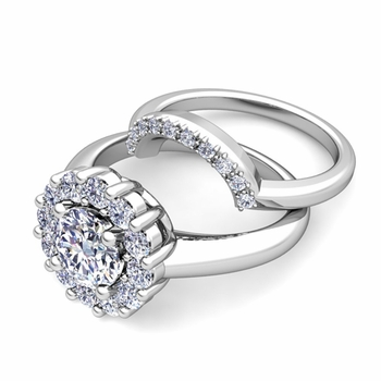 Classic Halo Diamond Engagement Ring Bridal Set in Platinum