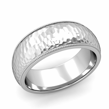 Comfort Fit Milgrain Wedding Band in 14k White or Yellow Gold, Hammered Finish, 8mm