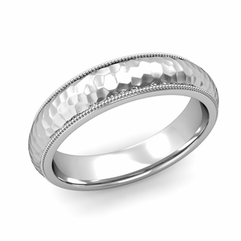 Comfort Fit Milgrain Wedding Band in Platinum, Hammered Finish, 5mm