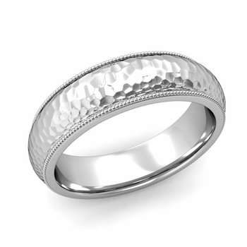 Comfort Fit Milgrain Wedding Band in Platinum, Hammered Finish, 6mm