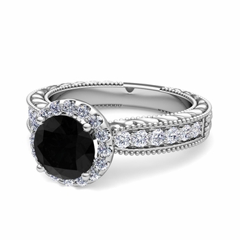 Vintage Inspired Black and White Diamond Engagement Ring in Platinum, 7mm