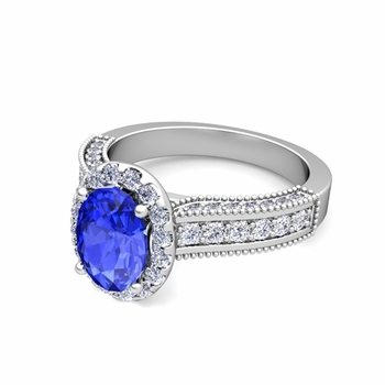 Heirloom Diamond and Ceylon Sapphire Engagement Ring in 14k Gold, 8x6mm
