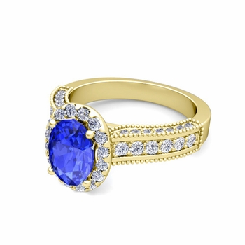 Heirloom Diamond and Ceylon Sapphire Engagement Ring in 18k Gold, 8x6mm