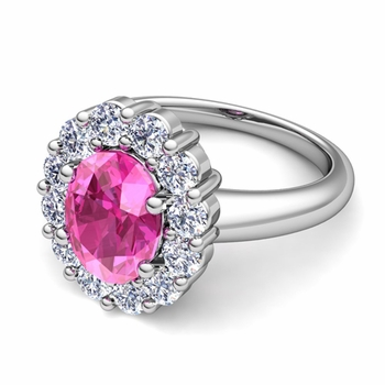 Halo Diamond and Pink Sapphire Diana Ring in Platinum, 9x7mm