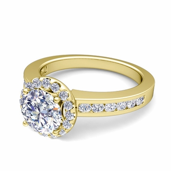 Halo Diamond Engagement Ring in 18k Gold Channel Set Ring